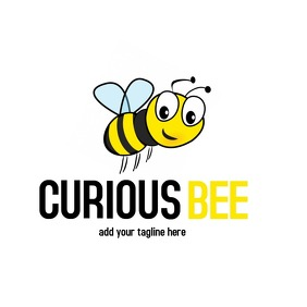 Cartoon inspired animal logo curious bee