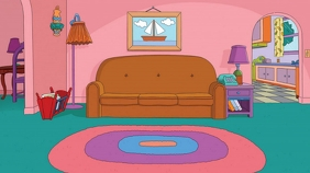 Cartoon Living Room TV Set Tampilan Digital (16:9) template