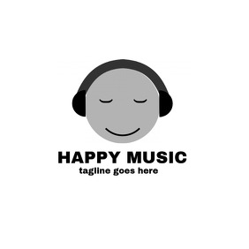 Cartoon style logo happy music