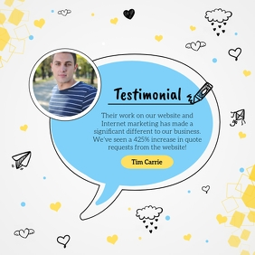 Cartoon-style testimonial instagram post template