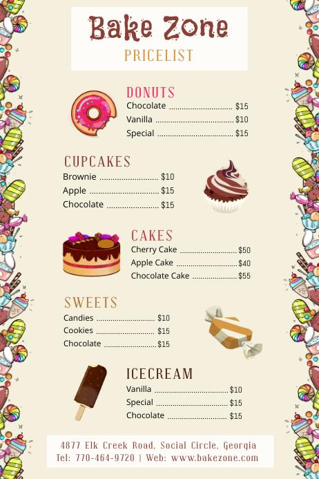 Cartoony Bake Sale Price List