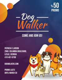 Cartoony Dog Walking Business Ad Flyer
