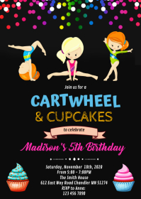 cartwheel and cupcake birthday invitation A6 template