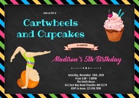 Cartwheels and Cupcakes birthday invite A6 template