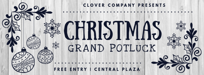 Carved Black and White Christmas Potluck Invite