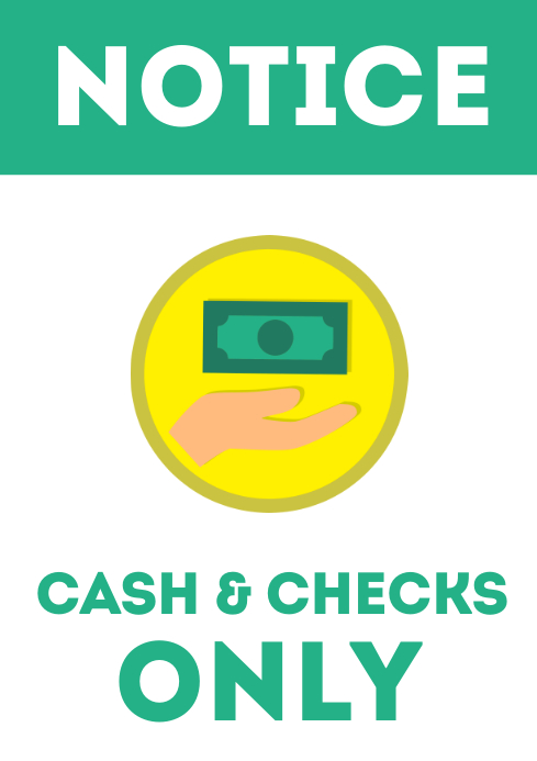Cash and Checks Only door sign printable A4 template