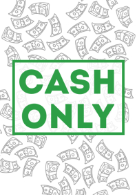 Cash Only Sign Printable A4 template