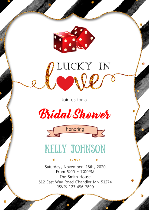 Casino Bet on love bachelorette shower party A6 template