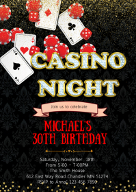 Casino birthday party invitation