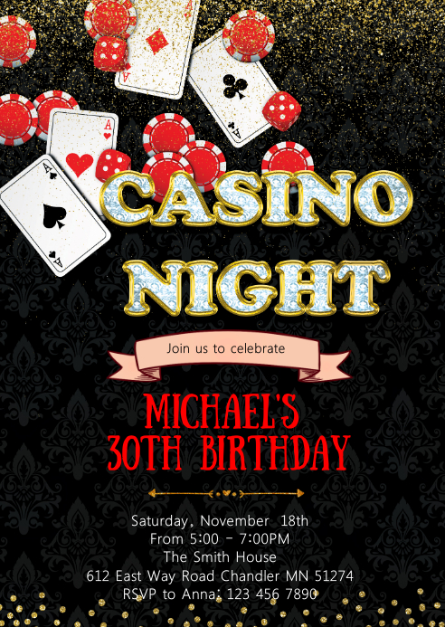 Casino birthday party invitation