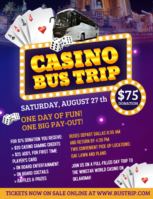 casino bus trip flyer template postermywall