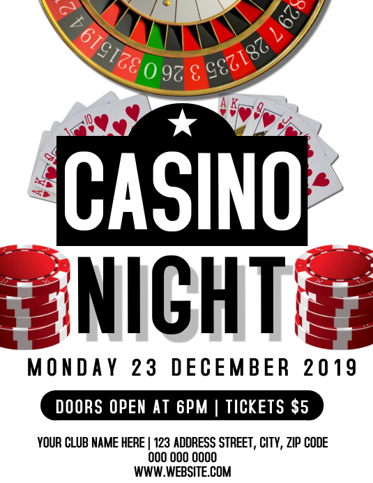Casino Game Night Event Flyer Template Folder (US Letter)