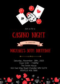 Casino night birthday party invitation A6 template