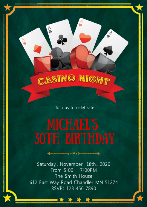 Casino night birthday party invitation