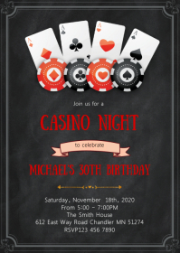 Casino night birthday party invitation A6 template