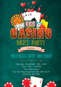 Casino night birthday party invitation