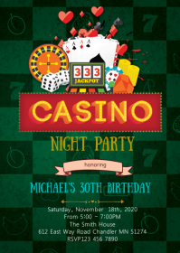 Casino night birthday party theme invitation A6 template