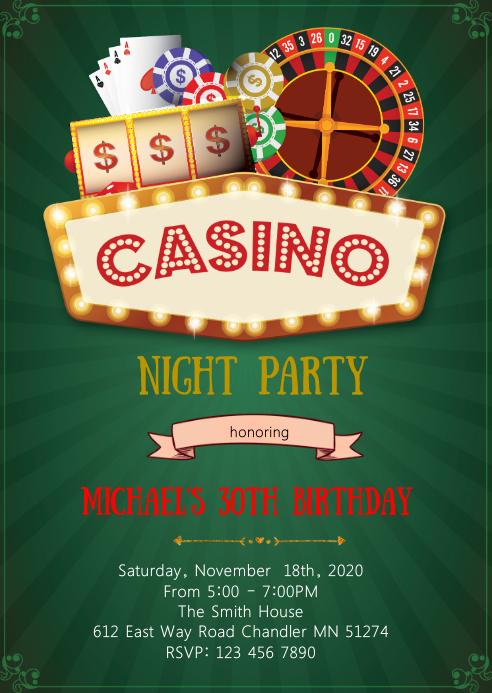 Casino night birthday party theme invitation