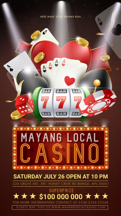 Casino Night Event Invitation Digital Display template