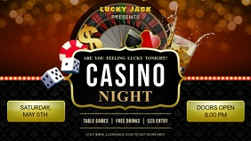 Casino Night Party Invite Outdoor Sign Digital Display (16:9) template