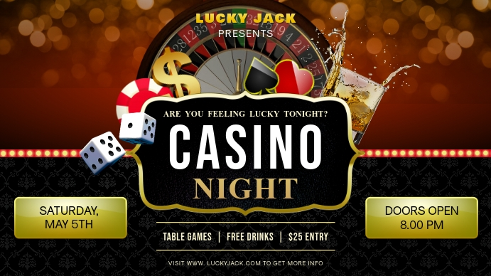 Casino Night Party Invite Outdoor Sign Digitalanzeige (16:9) template