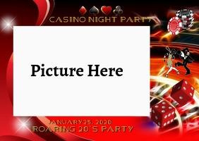 Casino Night Photo Frame Postcard template