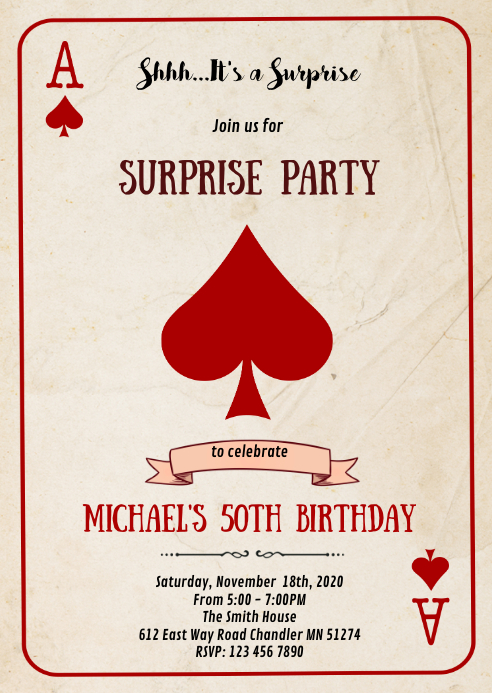Casino playing card birthday invitation
