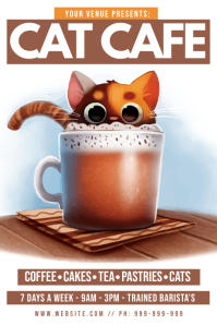 Cat Cafe Poster Плакат template