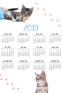 Cat Calendar 2019 Poster Template