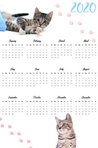 Cat Calendar 2020 Poster Template