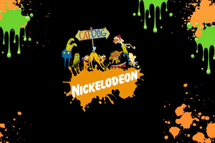 Cat Dog Nickelodeon 90s Party Birthday Cartoon Slime Splat Template