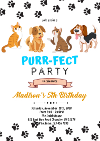 Cat dog pet birthday invitation A6 template