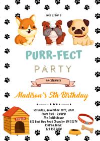 Cat dog pet birthday invitation A6 template