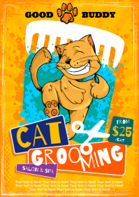 CAT GROOMING POSTER A4 template