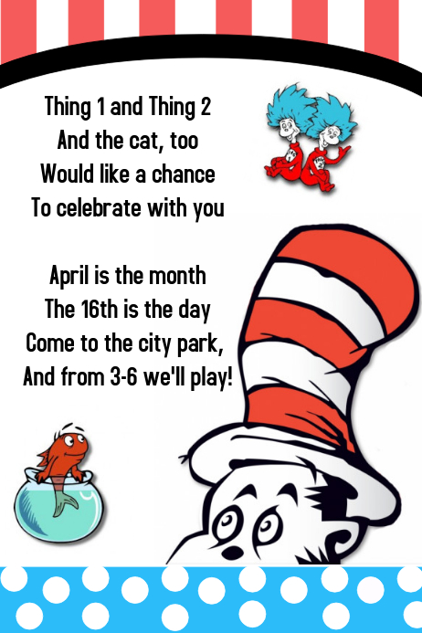 Cat In The Hat Template Postermywall