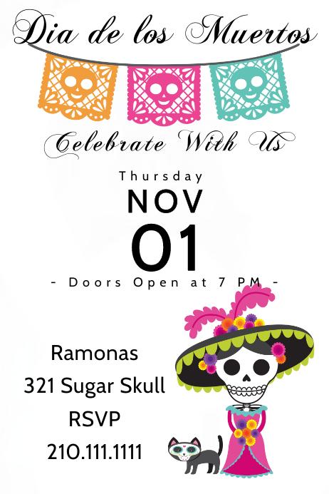 Cat Lady Skull Invite