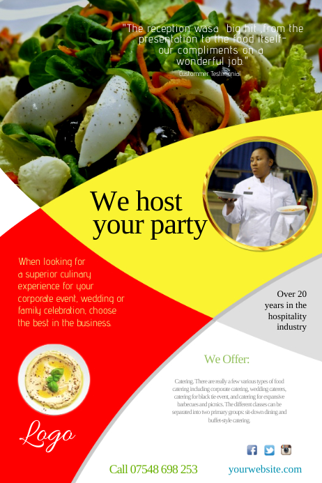 Catering company leaflet template postermywall catering company leaflet customize template wajeb Images