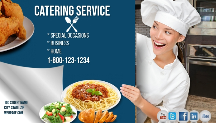 Catering service business card template postermywall catering service business card reheart Images