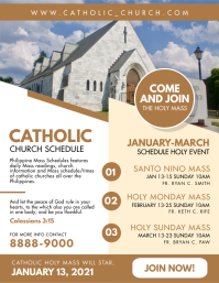 Catholic Church Schedule Flyer Template Ulotka (US Letter)