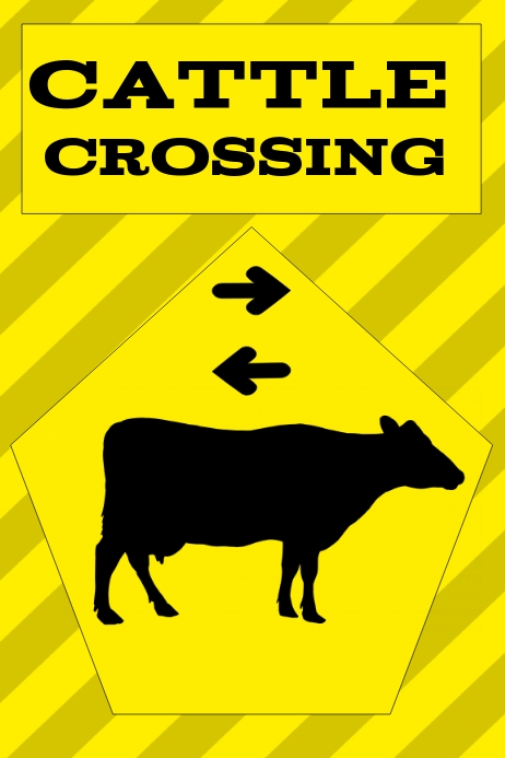 cattle crossing warning poster, attention sig