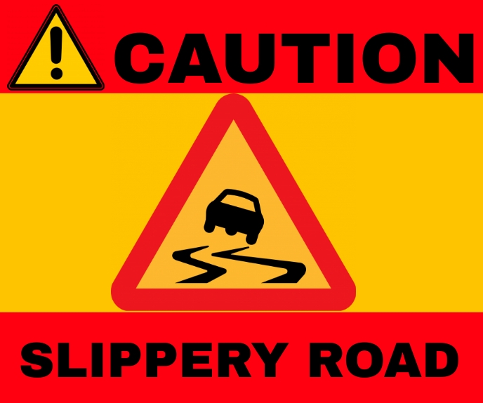 CAUTION ROAD SLIPPERY SIGN BOARD TEMPLATE Large Rectangle