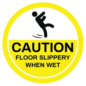 Caution Slippery Floor Sign Template Square (1:1)