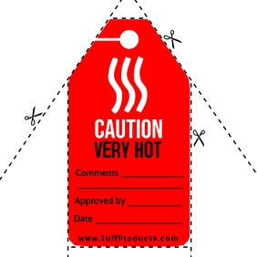 Caution Very Hot Sign Tag Template Square (1:1)