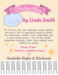 Babysitting Template with Tabs Volante (Carta US)