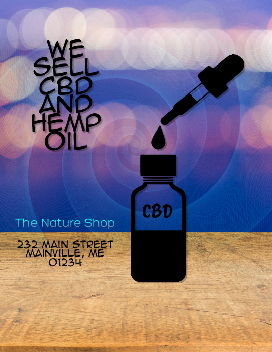 CBD Hemp Oil Sold Here Flyer Template