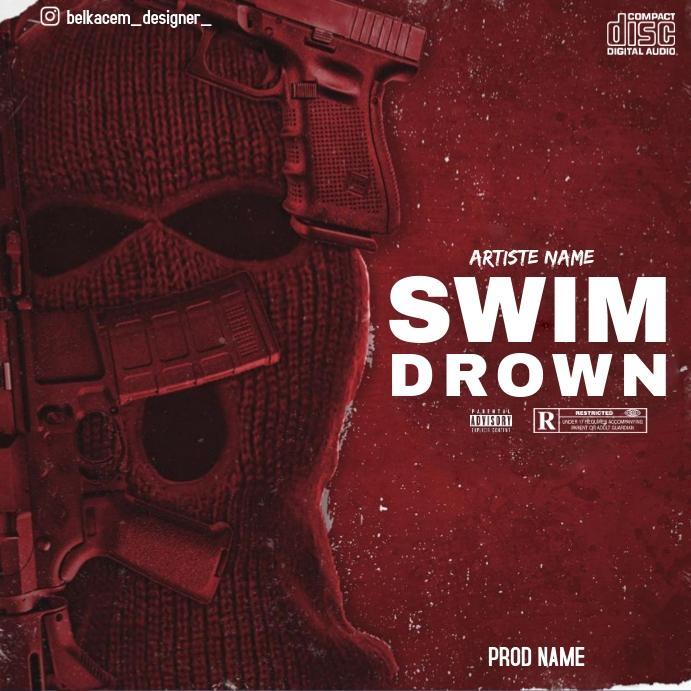 CD cover swim drown Post Instagram template