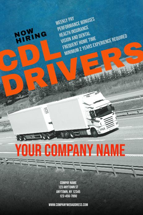 CDL Driver Hiring Poster Flyer Template