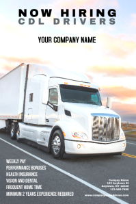 CDL Driver Hiring Poster Team building Póster template