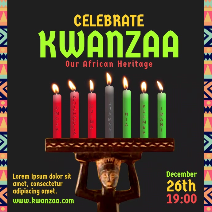 Celebrate Kwanzaa Candle video Pos Instagram template