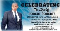 Celebration of life funeral annoucement Gambar Bersama Facebook template